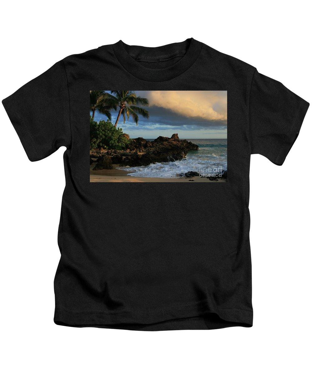 Beaches Kids T-Shirt featuring the photograph Aloha Naau Sunset Paako Beach Honuaula Makena Maui Hawaii by Sharon Mau