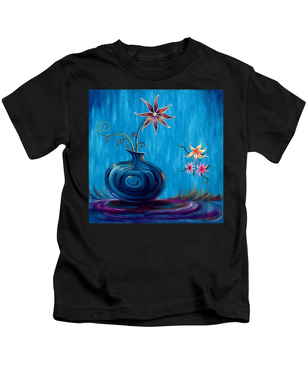 Fantasy Floral Scape Kids T-Shirt featuring the painting Aloha Rain by Jennifer McDuffie