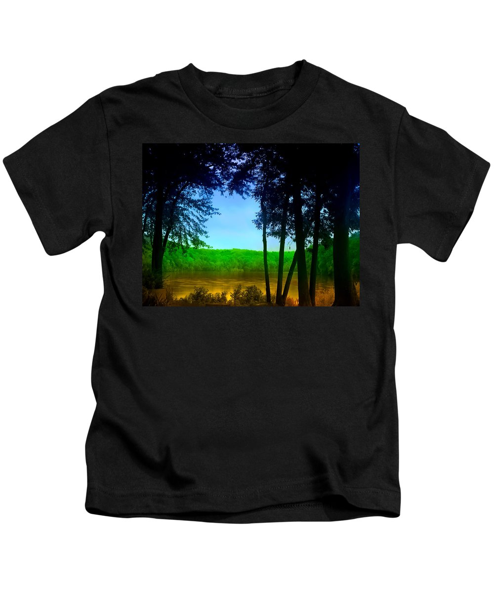 Washingtons Crossing Kids T-Shirt featuring the photograph Along The Muddy River by Bill Cannon
