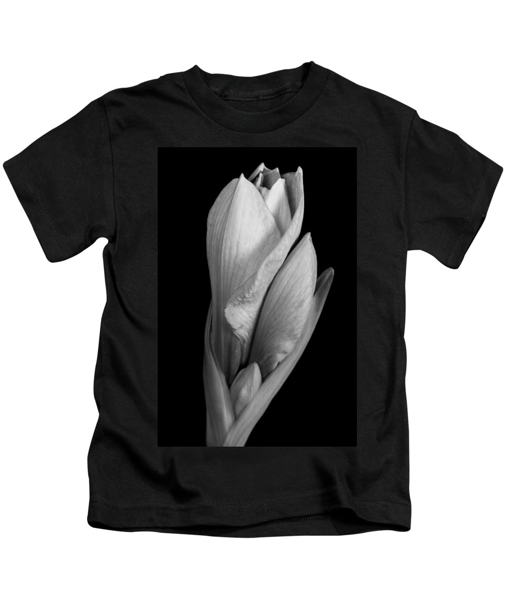 Amaryllis Kids T-Shirt featuring the photograph Amaryllis In Black And White by James BO Insogna