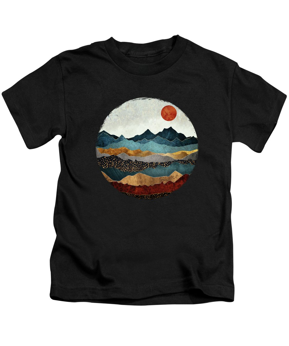 Amber Kids T-Shirt featuring the digital art Amber Dusk by Spacefrog Designs