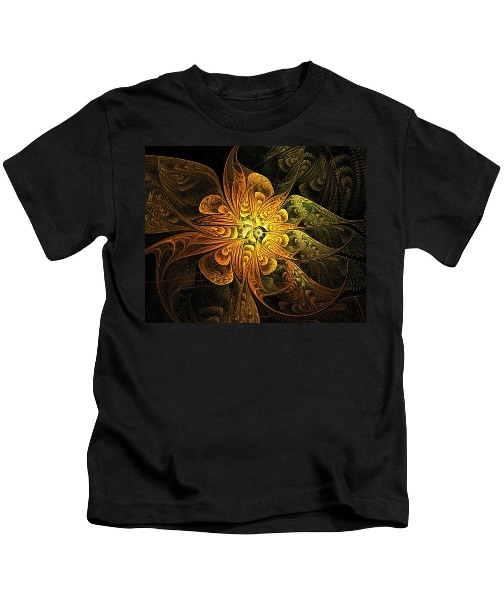 Digital Art Kids T-Shirt featuring the digital art Amber Light by Amanda Moore