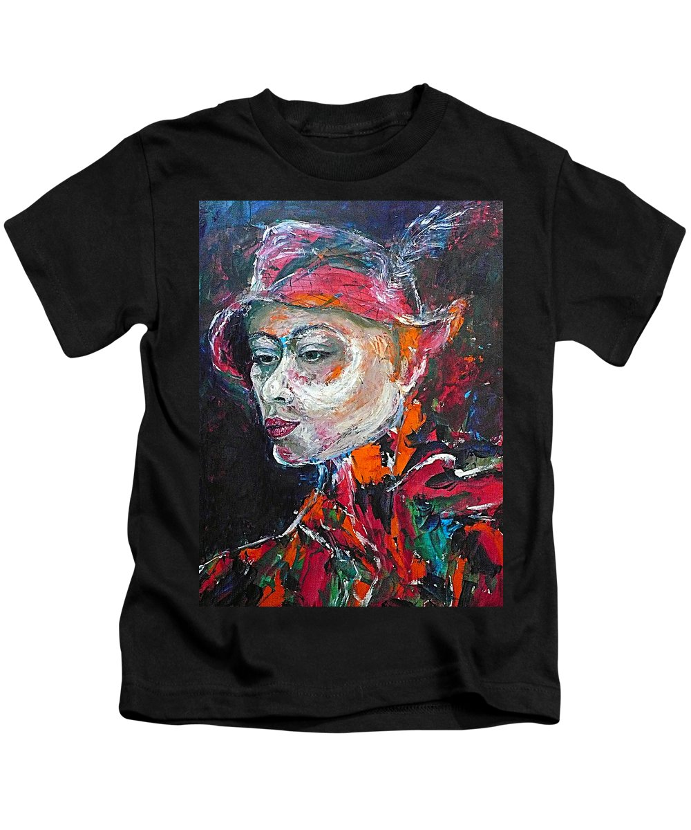 Portrait Kids T-Shirt featuring the painting Ambiguity by Ericka Herazo