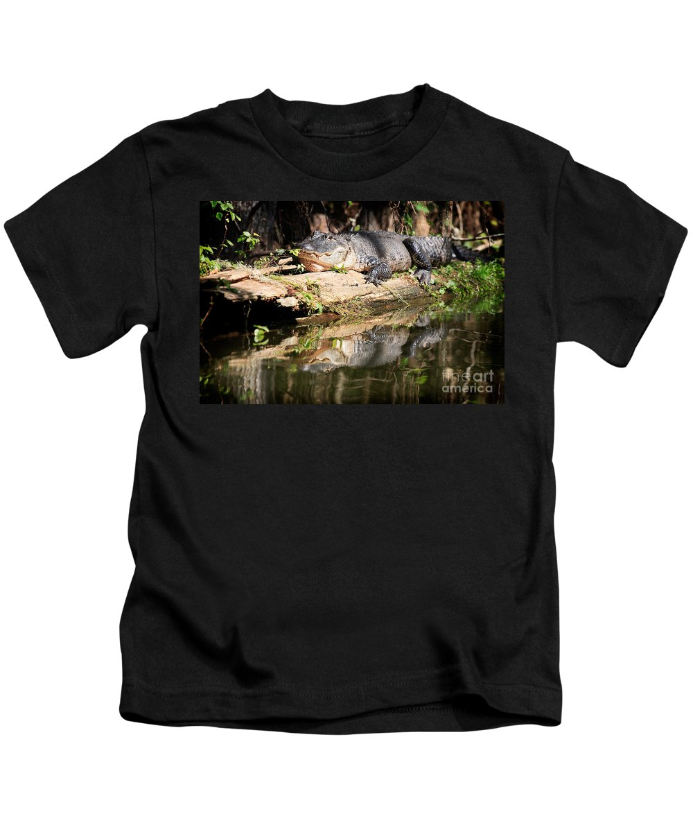 American Alligator Kids T-Shirt featuring the photograph American Alligator With Caterpillar by Matt Suess