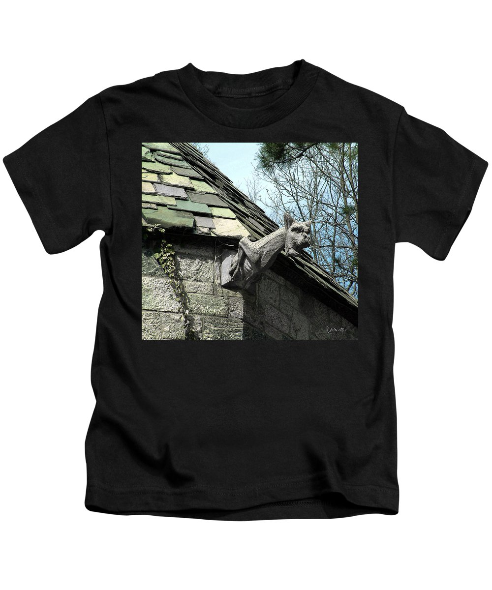 Architecture Kids T-Shirt featuring the photograph American Gargoyle by RC DeWinter