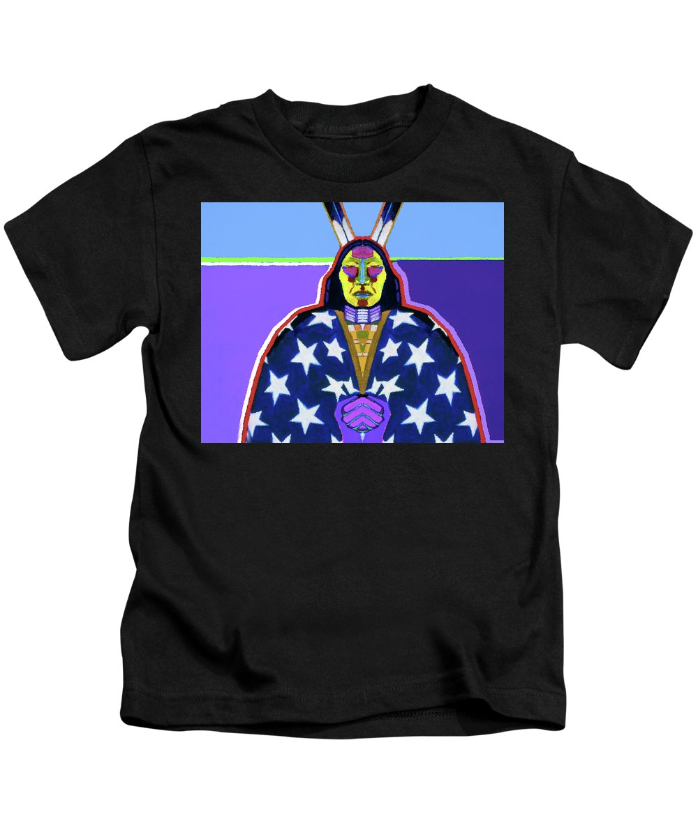 Coyote Kids T-Shirt featuring the painting American Indian By Nixo by Supreme Inc