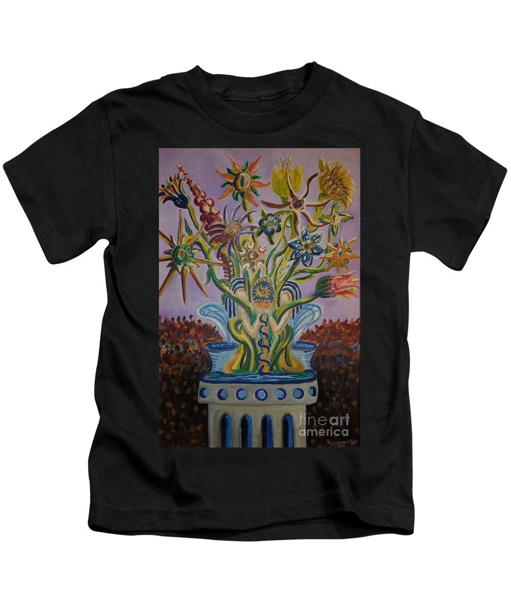 Flowers Kids T-Shirt featuring the painting Amidst The Blooms by Timothy Michael Foley