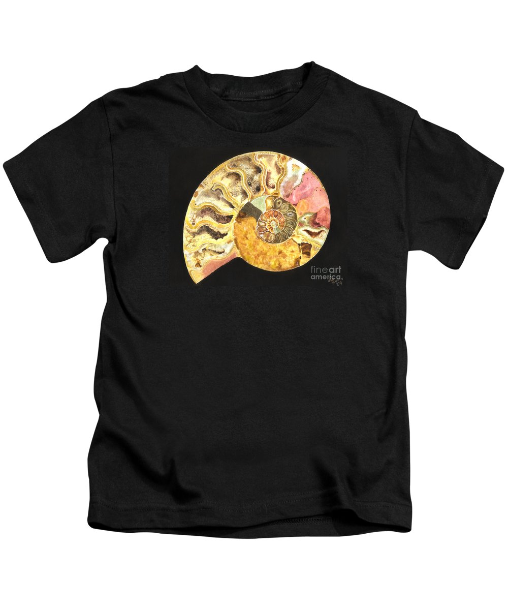 Ammonite Fossil Kids T-Shirt featuring the painting Ammonite Fossil by Lynn Quinn