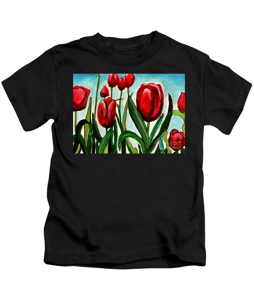 Tulips Kids T-Shirt featuring the painting Among The Tulips by Elizabeth Robinette Tyndall