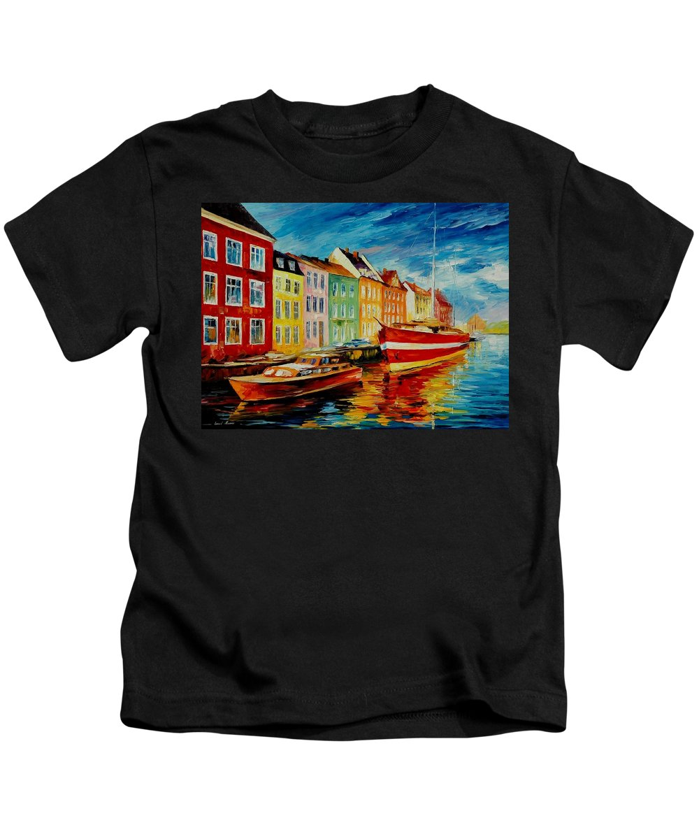 Afremov Kids T-Shirt featuring the painting Amsterdam - City Dock by Leonid Afremov