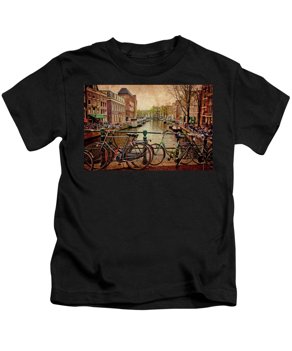 Amsterdam Kids T-Shirt featuring the photograph Amsterdam Canal by Jill Smith
