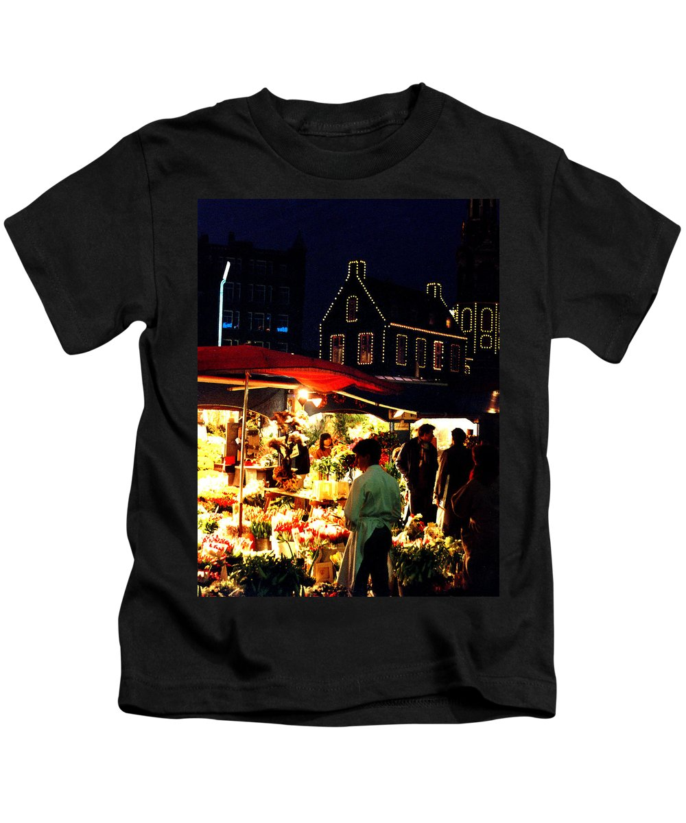 Flowers Kids T-Shirt featuring the photograph Amsterdam Flower Market by Nancy Mueller