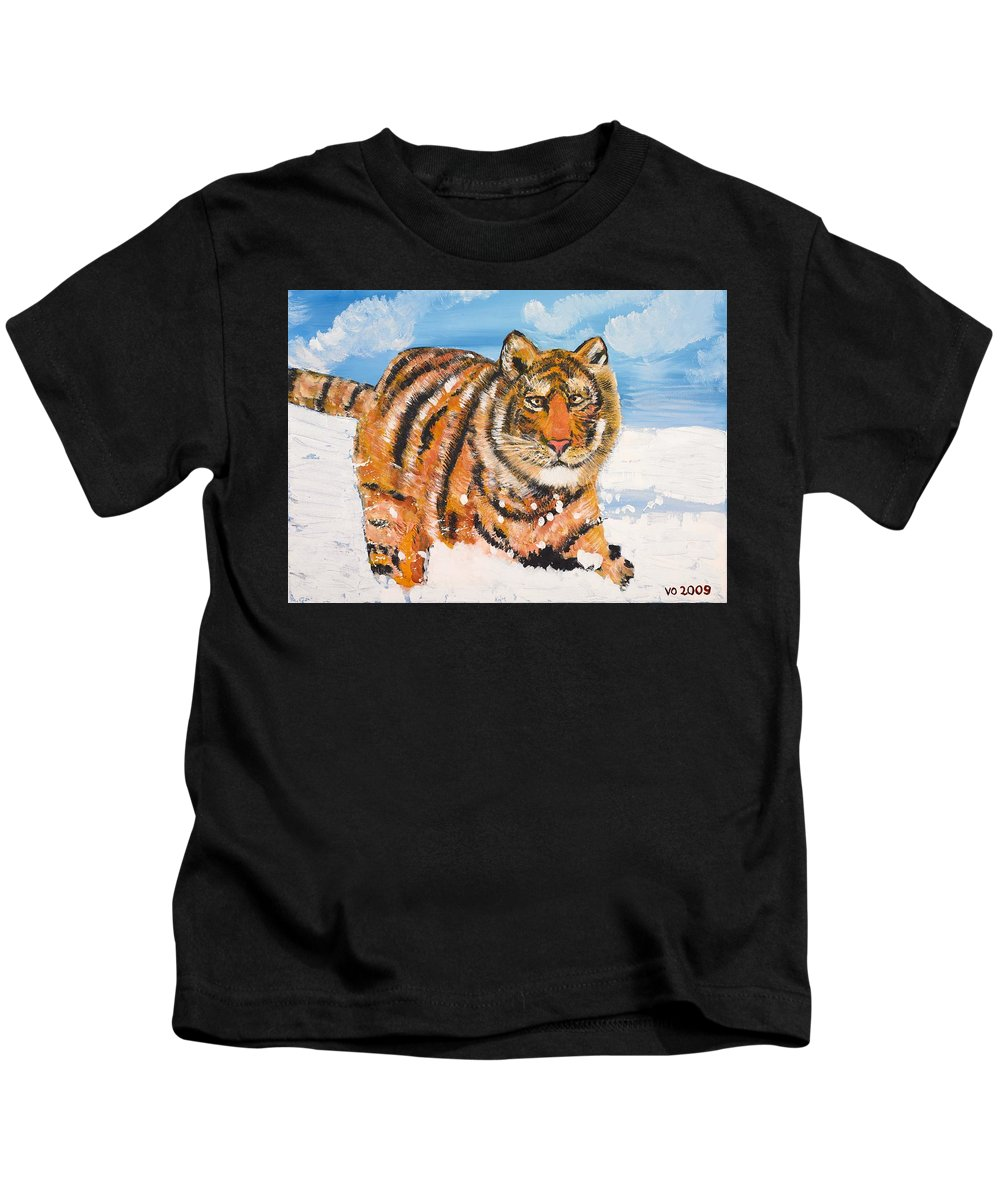 Cat Kids T-Shirt featuring the painting Amur Tiger by Valerie Ornstein