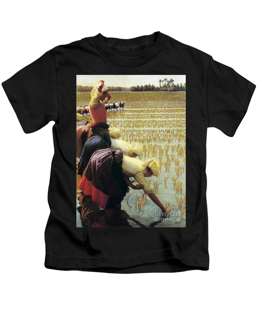 Italian Kids T-Shirt featuring the painting An Italian Rice Field by Angelo Morbelli