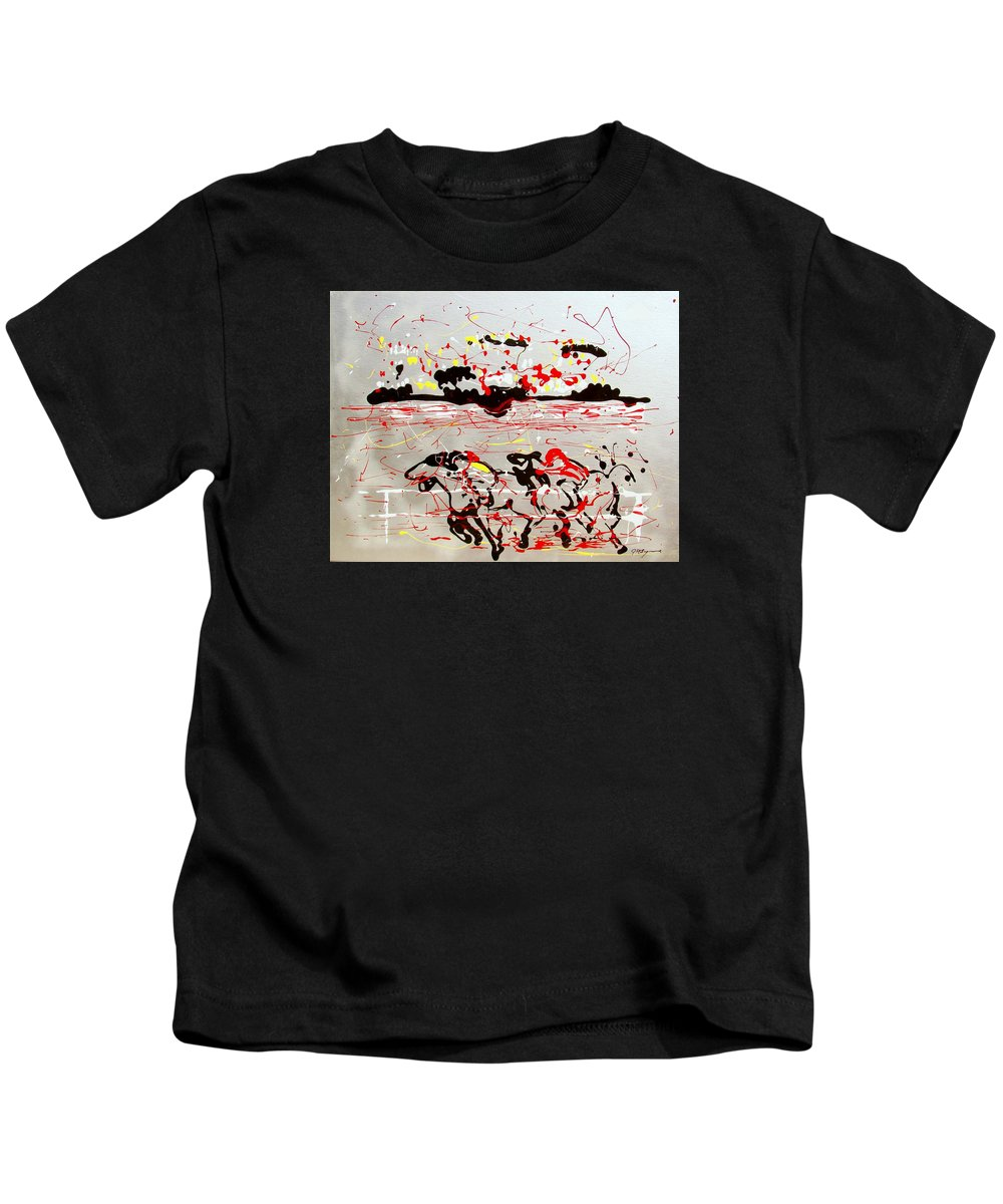 Abstract Kids T-Shirt featuring the mixed media And Down The Stretch They Come by J R Seymour