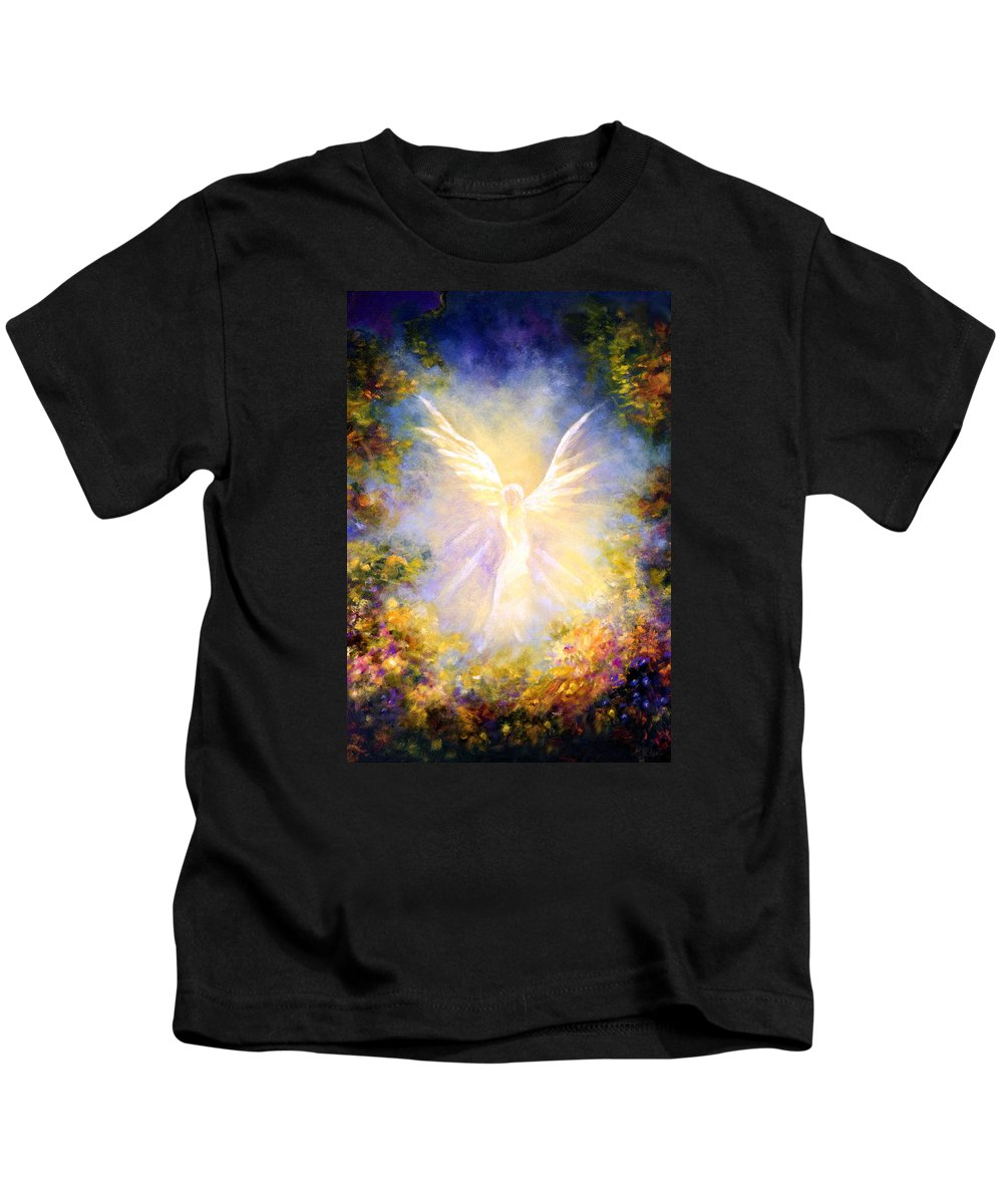 Angel Kids T-Shirt featuring the painting Angel Descending by Marina Petro