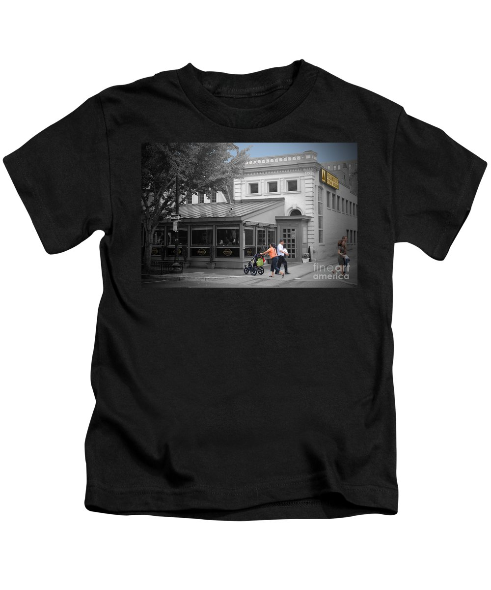 Anne Kids T-Shirt featuring the photograph Annies Paramount Steak House by Jost Houk