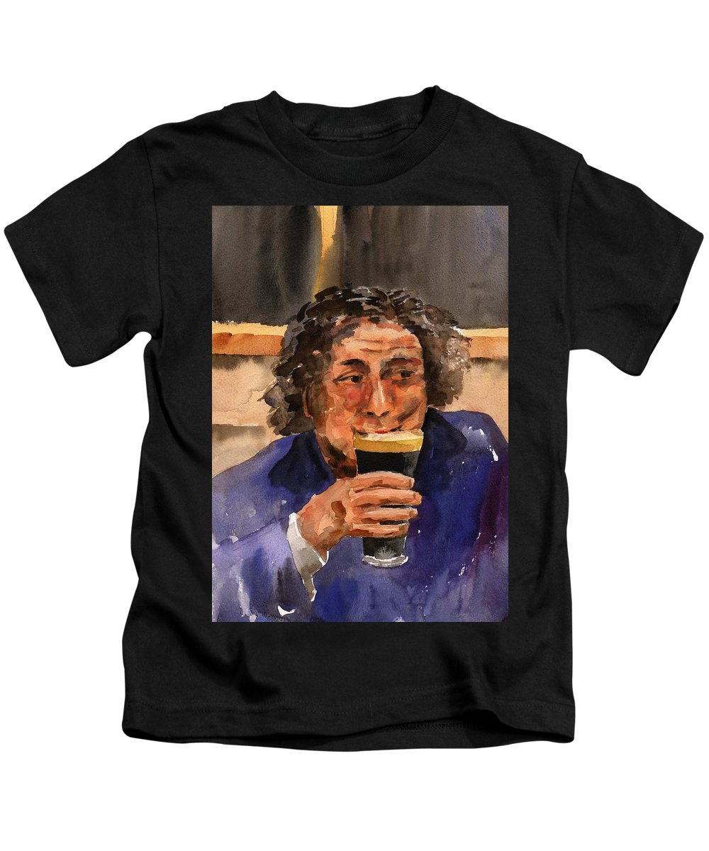 Kids T-Shirt featuring the painting A Pint Please... Next Time. by Val Byrne