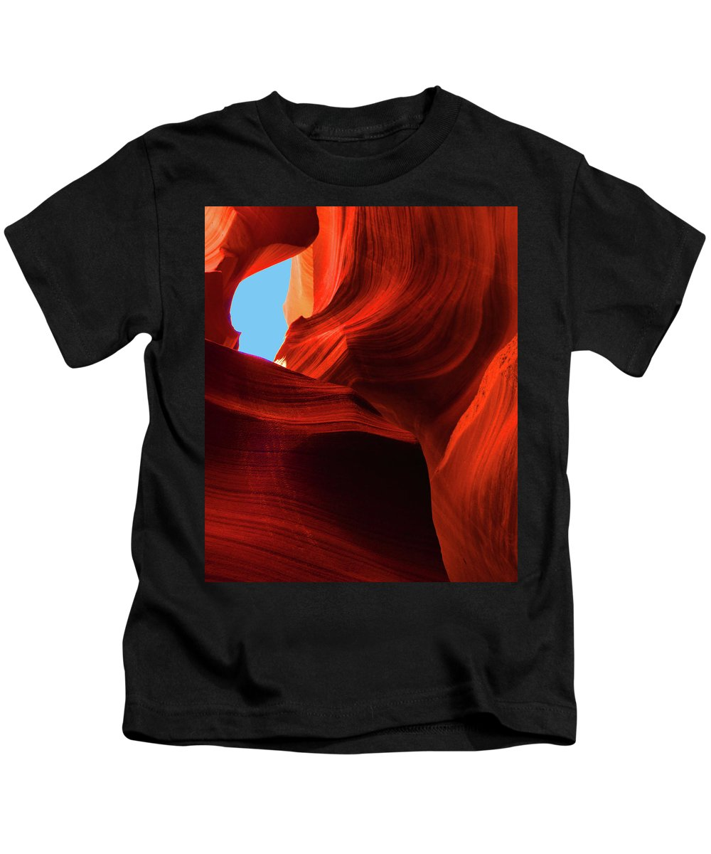 Antelope Canyon Red Rock Formations Kids T-Shirt featuring the photograph Antelope Canyon by Florence Ponzo