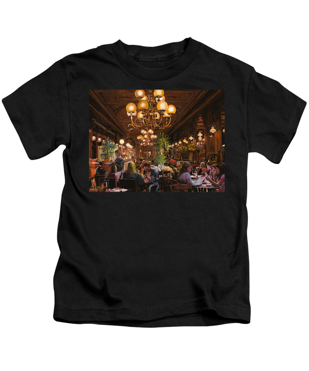 Brasserie Kids T-Shirt featuring the painting Antica Brasserie by Guido Borelli