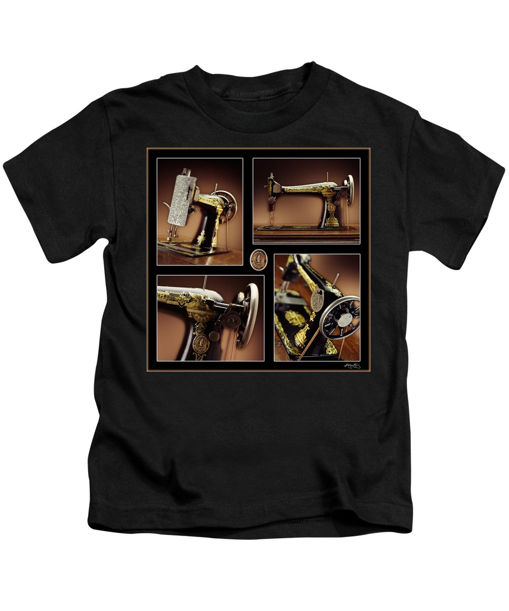 Antique Sewing Machine Kids T-Shirt featuring the photograph Antique Singer by Kelley King