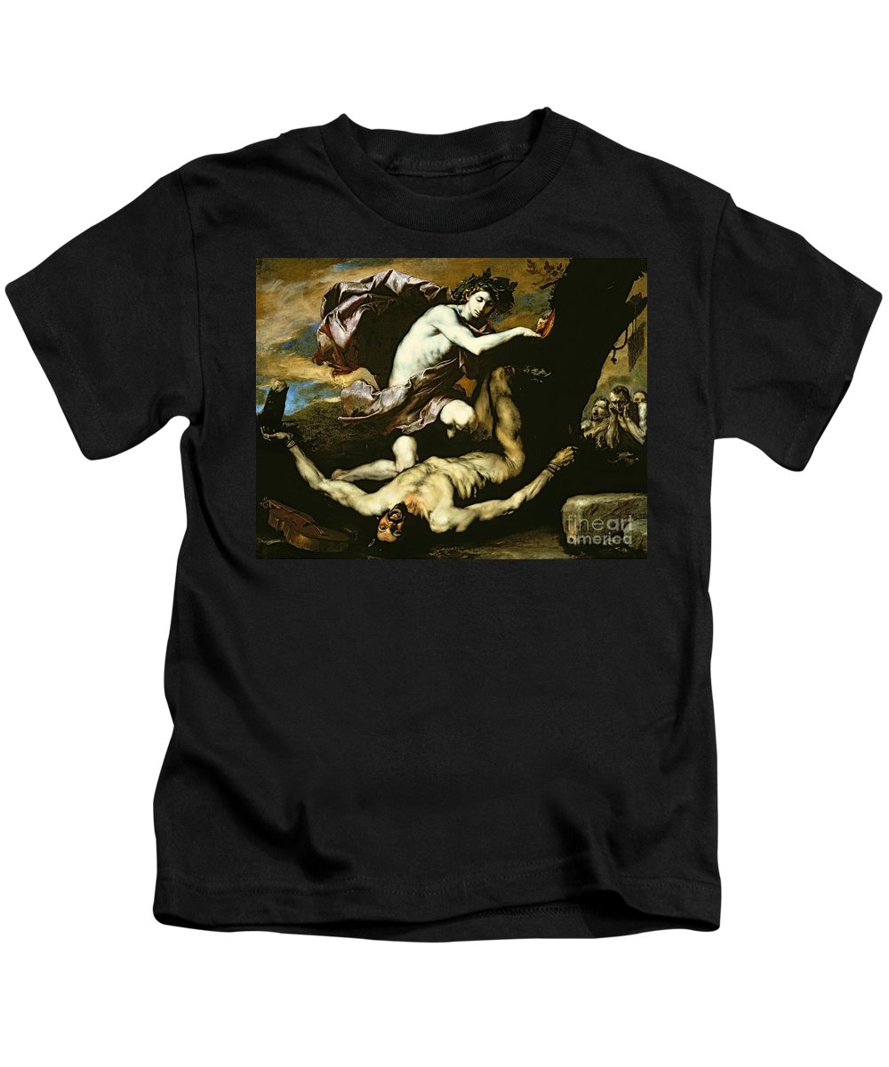 Apollo Kids T-Shirt featuring the painting Apollo And Marsyas by Jusepe de Ribera