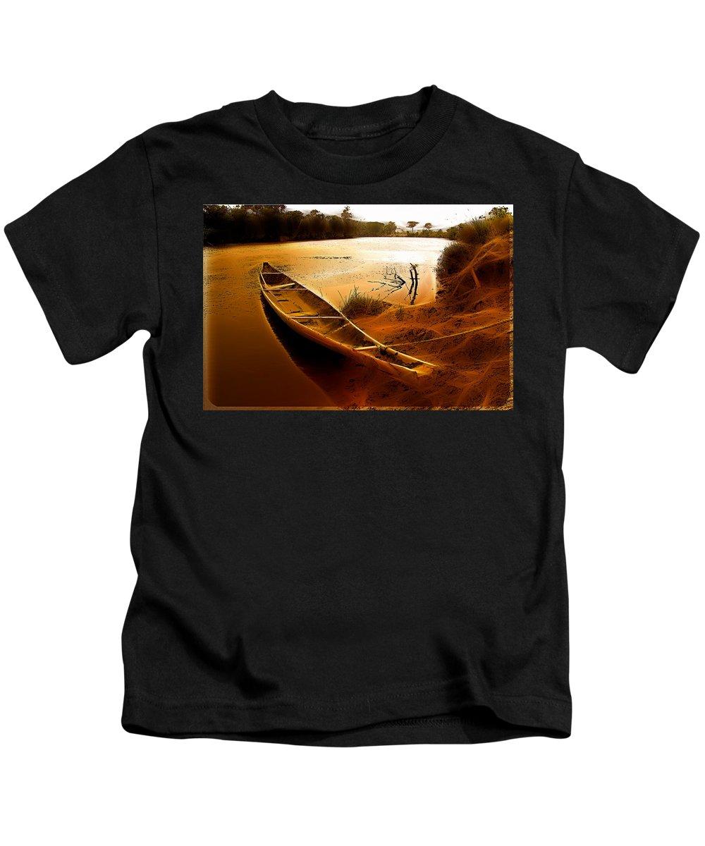 Aponwao River Boat Gran Sabana Venezuela Wather Sky Brown Kids T-Shirt featuring the photograph Aponwao River by Galeria Trompiz