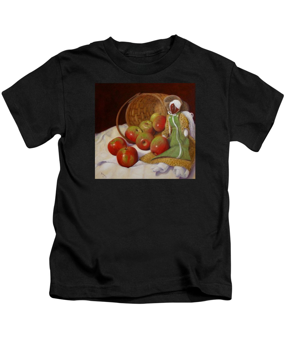 Realism Kids T-Shirt featuring the painting Apple Annie by Donelli DiMaria