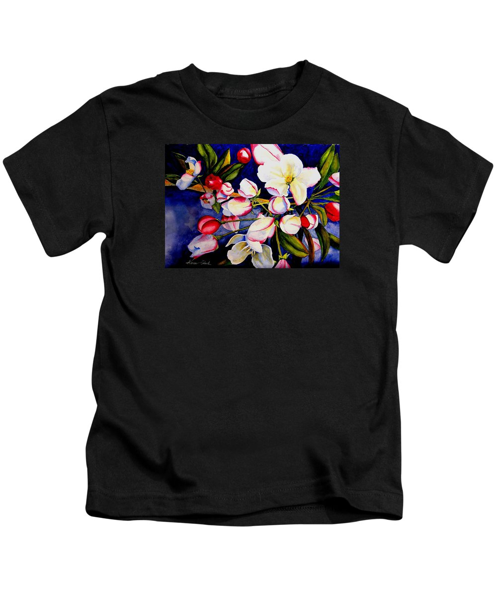 Apple Blossoms Kids T-Shirt featuring the painting Apple Blossom Time by Karen Stark