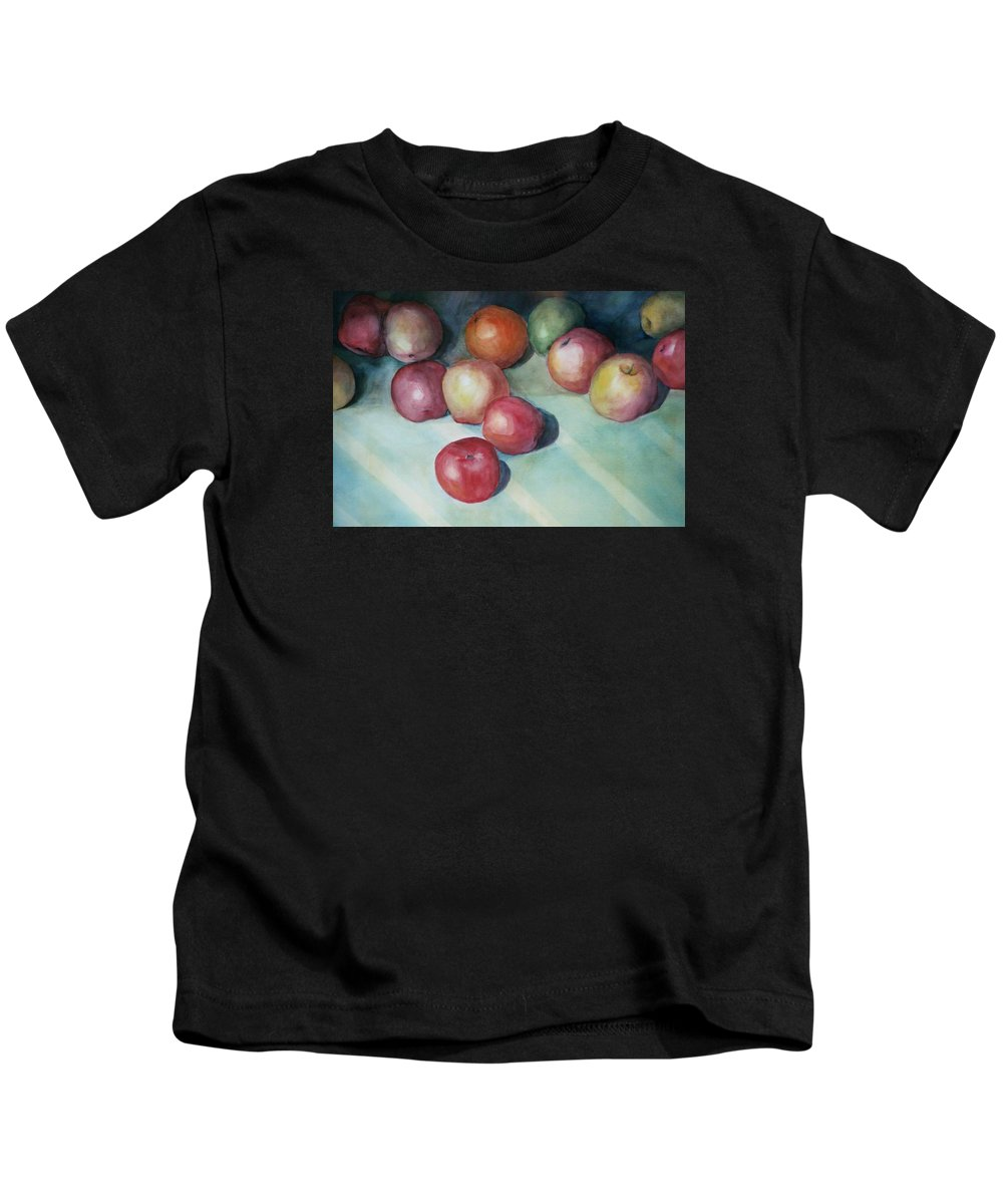 Orange Kids T-Shirt featuring the painting Apples And Orange by Jun Jamosmos