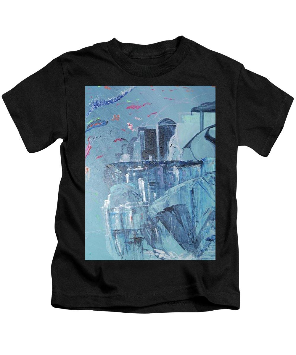 Blue Kids T-Shirt featuring the painting Aqua Resort by Subbora Jackson
