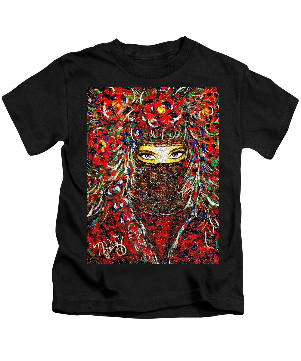 Woman Kids T-Shirt featuring the painting Arabian Eyes by Natalie Holland