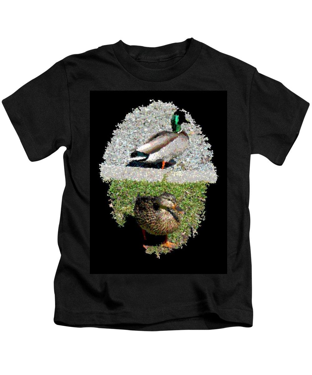 Arboretum Kids T-Shirt featuring the digital art Arboretum Quackers by Tim Allen