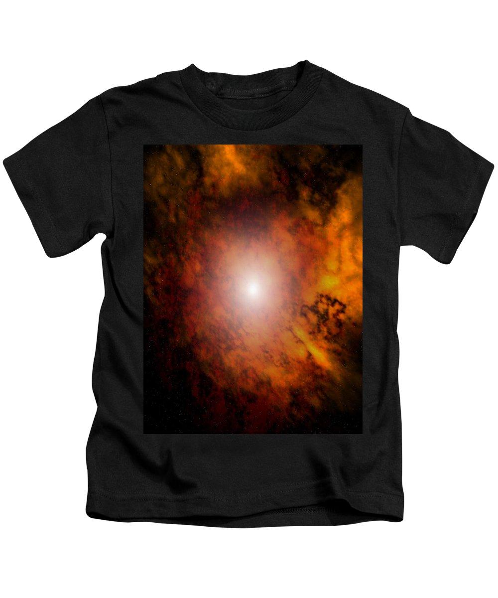 Artrage Artrageus Space Nebula Scifi Kids T-Shirt featuring the digital art Arca Nebula by Robert aka Bobby Ray Howle