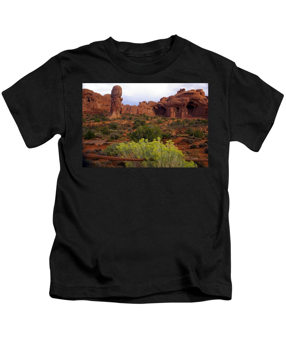 Southwest Art Kids T-Shirt featuring the photograph Arches Park 1 by Marty Koch