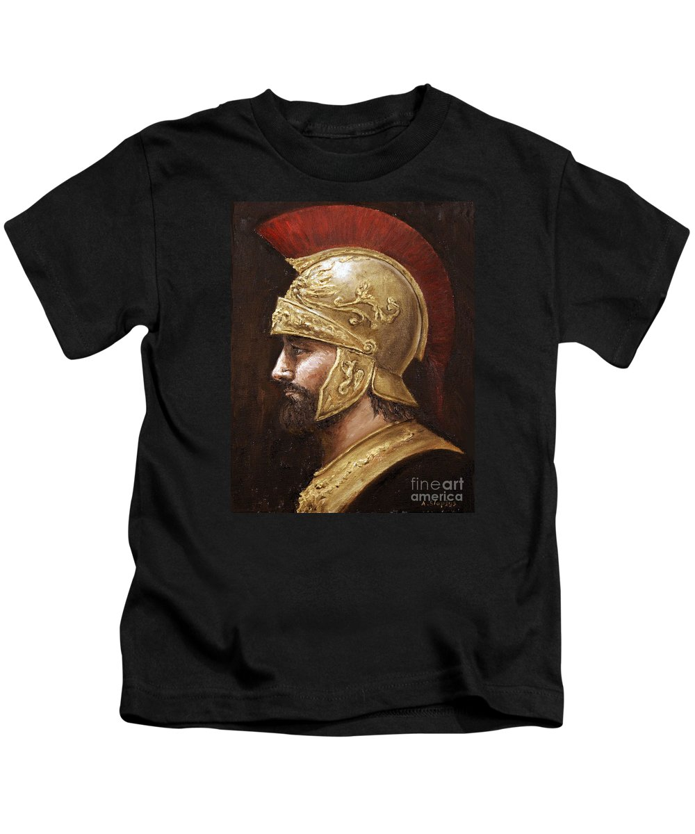Warrior Kids T-Shirt featuring the painting Ares by Arturas Slapsys