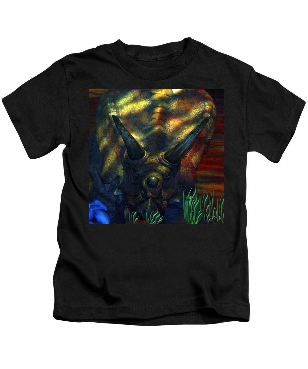 Dinosaur Armour Triceratops Extinct Dinosaurs Herbivorous Cretaceous Period Kids T-Shirt featuring the photograph Armour Plated by Andrea Lawrence