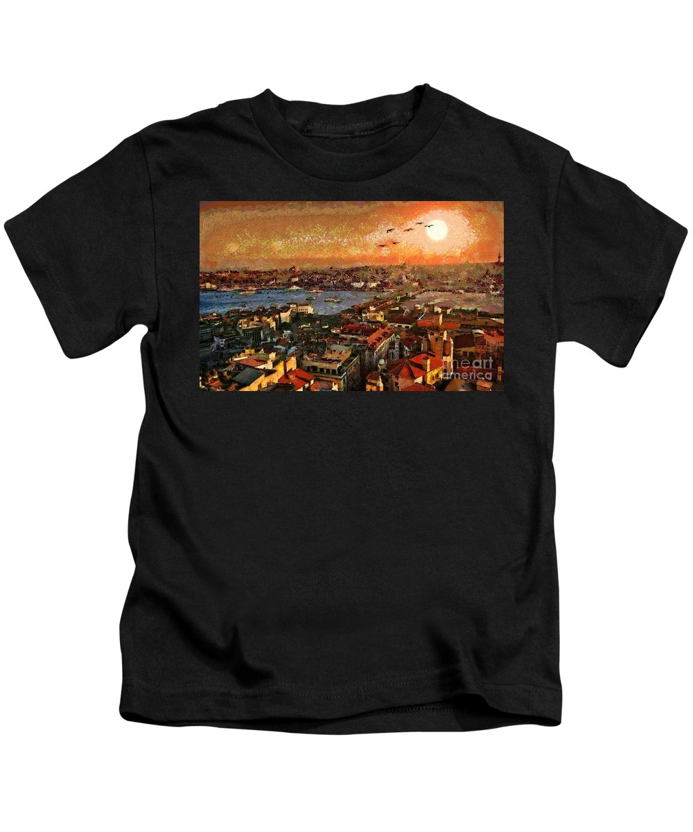 Art Beautiful Views Exist Fragmented Kids T-Shirt featuring the painting Art Beautiful Views Exist Fragmented by Catherine Lott