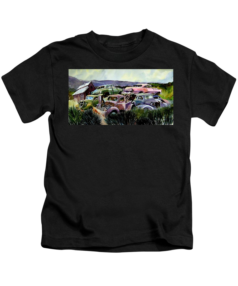 Cars Kids T-Shirt featuring the painting Art In The Orchard by Ron Morrison