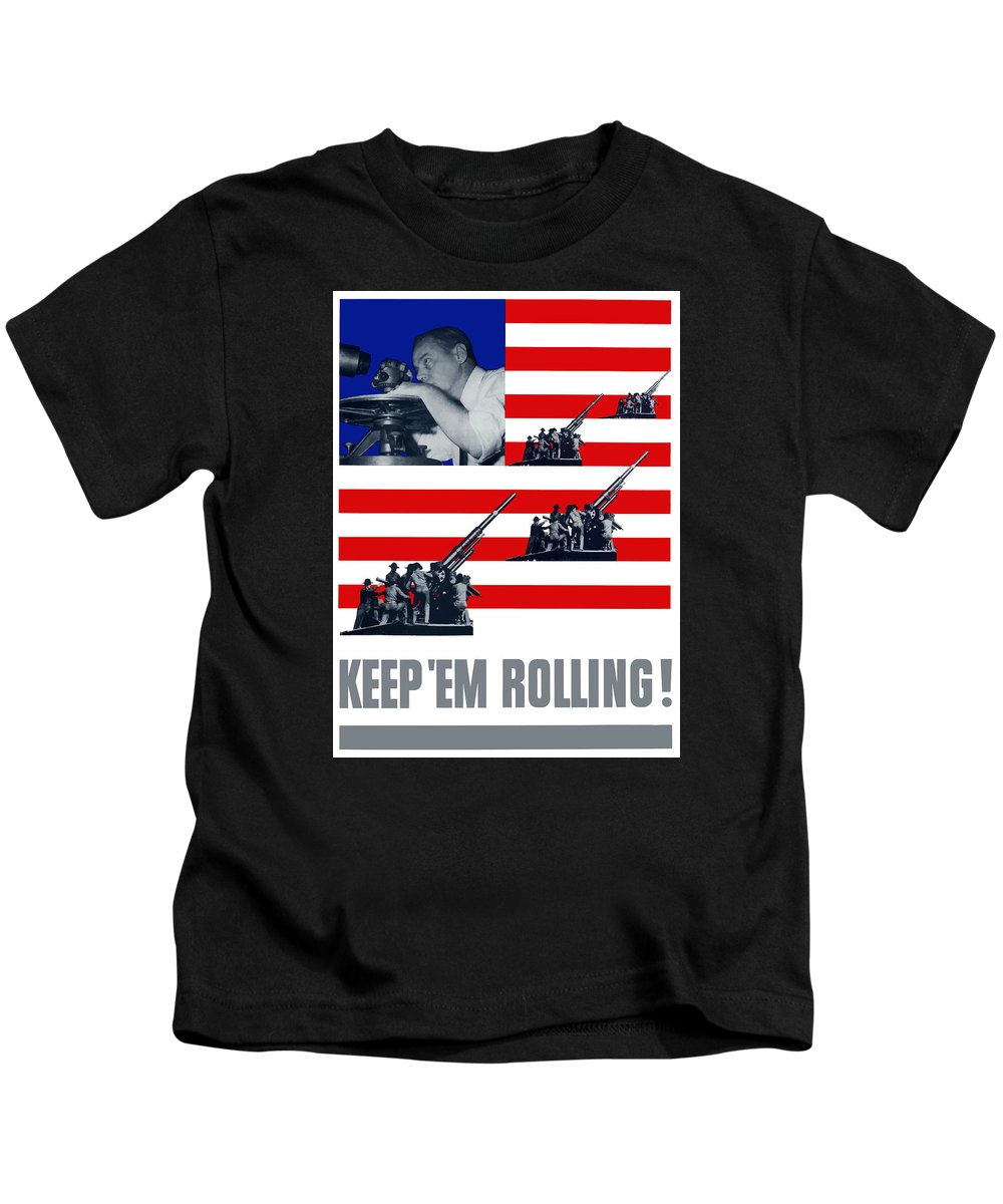 World War Ii Kids T-Shirt featuring the digital art Artillery -- Keep 'em Rolling by War Is Hell Store