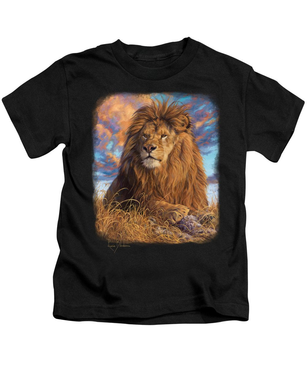 Lion Kids T-Shirt featuring the painting Watchful Eyes by Lucie Bilodeau