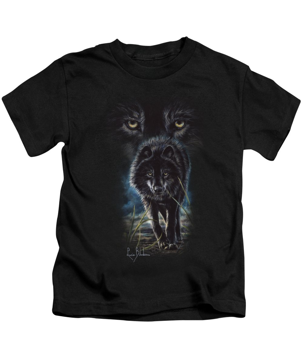 Wolf Kids T-Shirt featuring the painting Black Wolf Hunting by Lucie Bilodeau