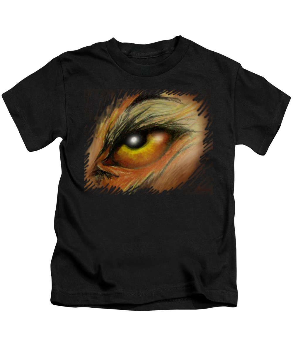Eye Kids T-Shirt featuring the painting Eye Of The Beast by Kevin Middleton