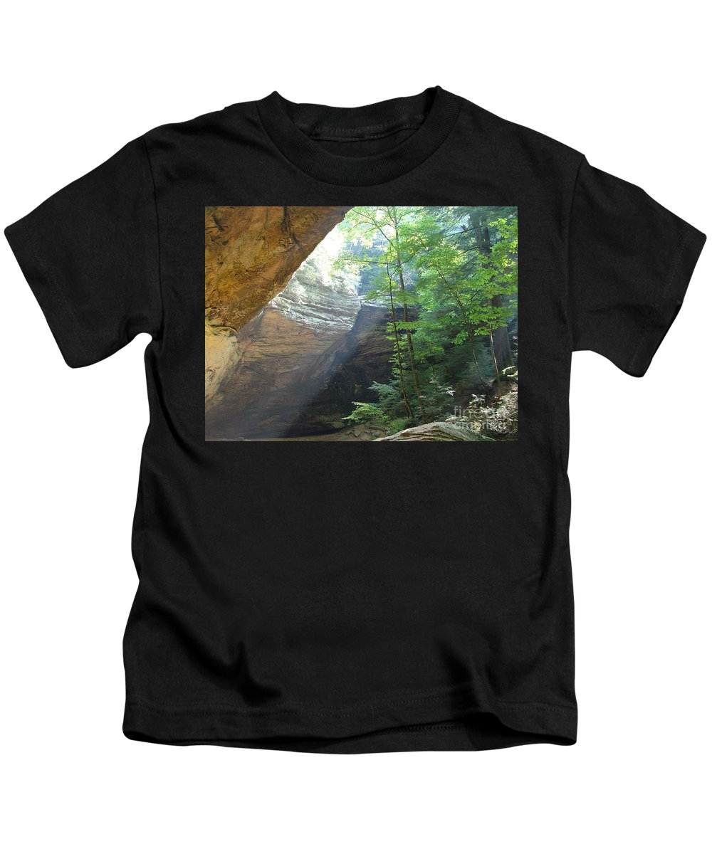 Photograph Kids T-Shirt featuring the photograph Ash Cave by Mindy Newman