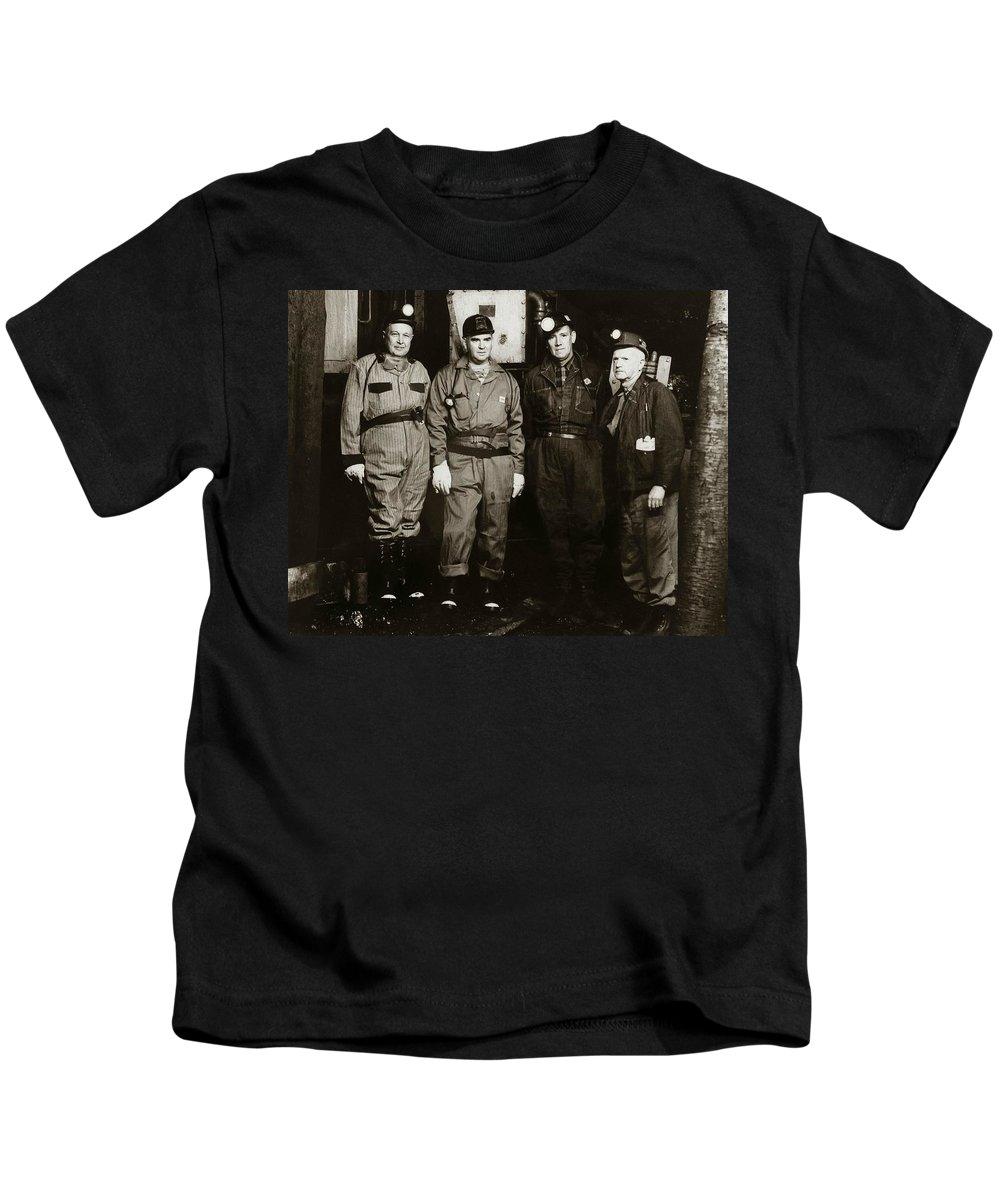 Ashley Kids T-Shirt featuring the photograph Ashley Pa Glen Alden Coal Co Huber Coal Breaker 1962 by Arthur Miller