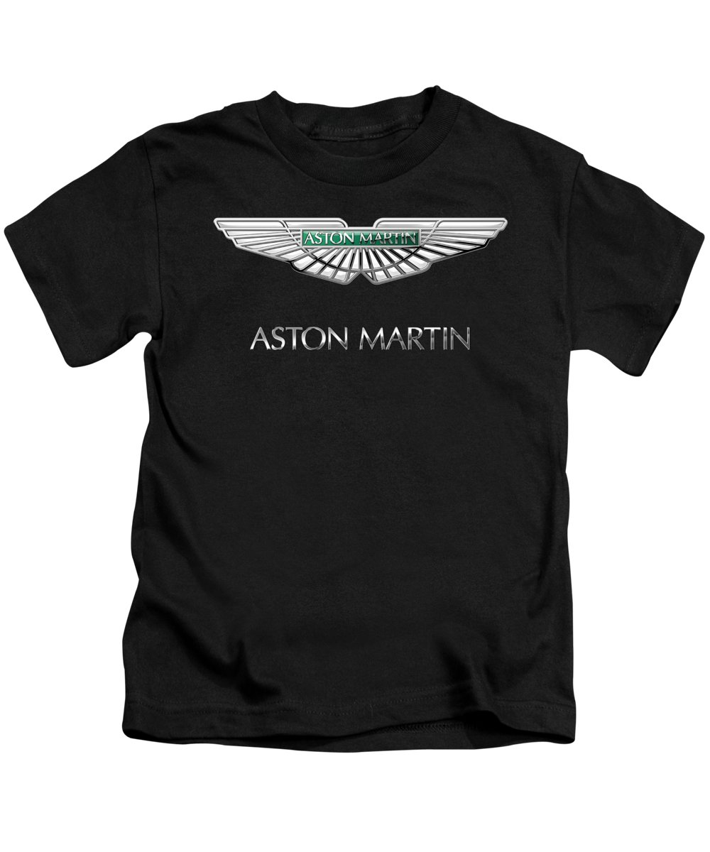 'wheels Of Fortune� Collection By Serge Averbukh Kids T-Shirt featuring the photograph Aston Martin 3 D Badge on Black by Serge Averbukh