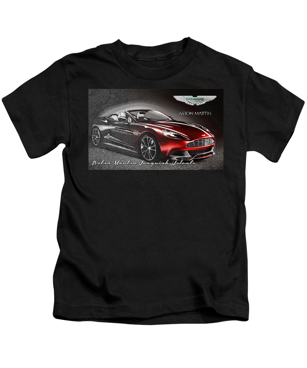 �wheels Of Fortune� Collection By Serge Averbukh Kids T-Shirt featuring the photograph Aston Martin Vanquish Volante by Serge Averbukh