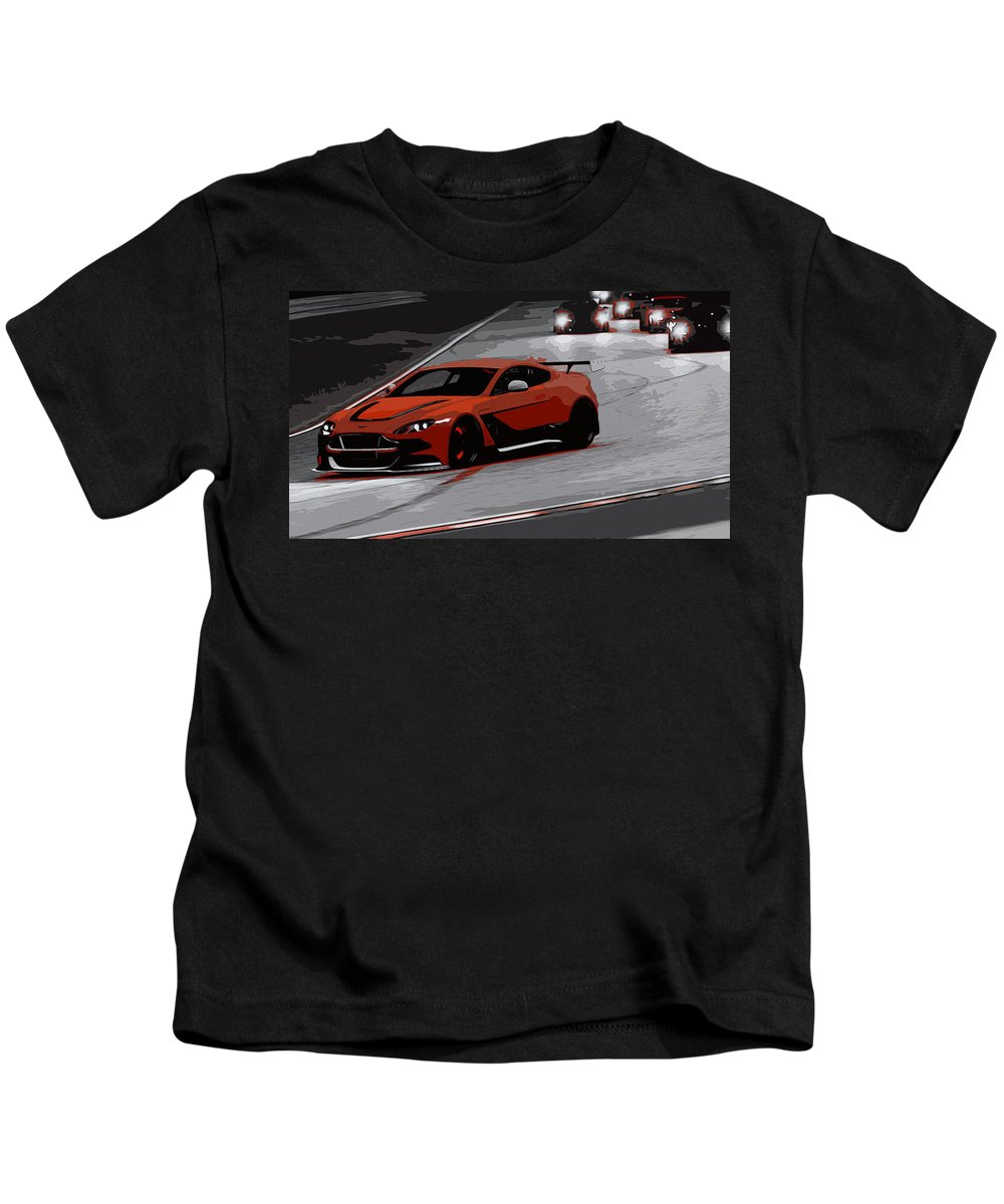 Aston Martin Vantage Kids T-Shirt featuring the painting Aston Martin Vantage Gt12 by Andrea Mazzocchetti