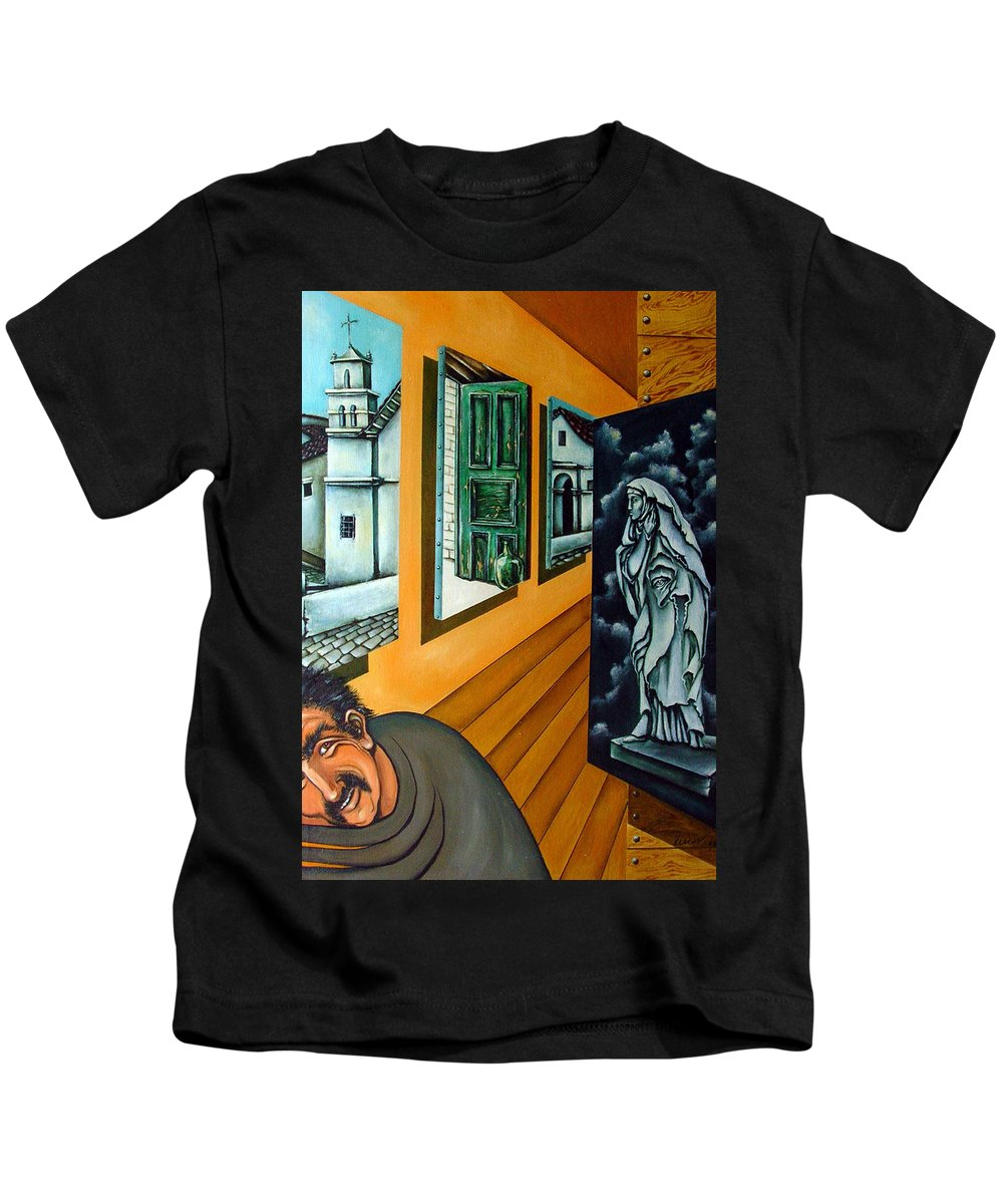 Surreal Kids T-Shirt featuring the painting Asylum by Valerie Vescovi