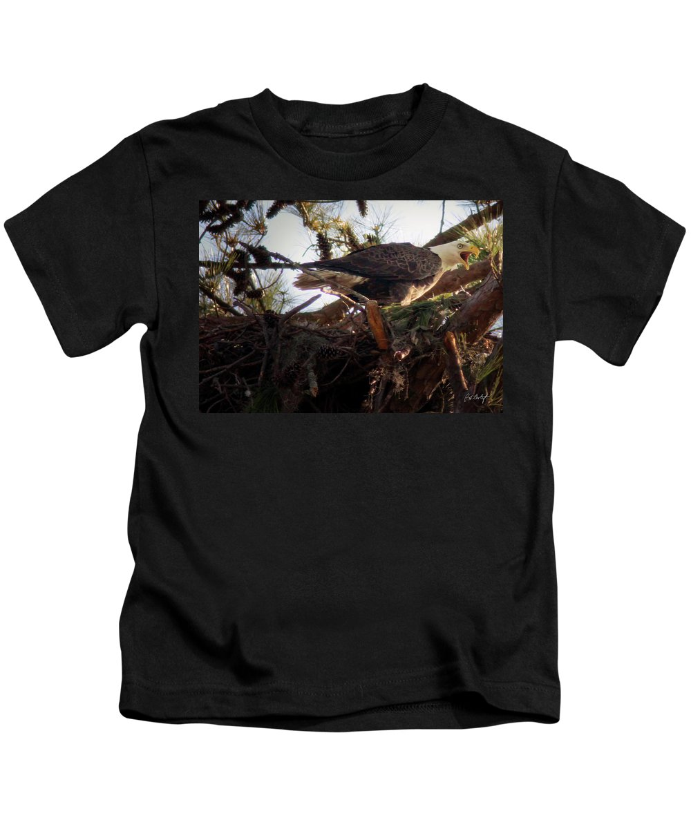 Bald Eagle Kids T-Shirt featuring the photograph At The Nest by Phill Doherty